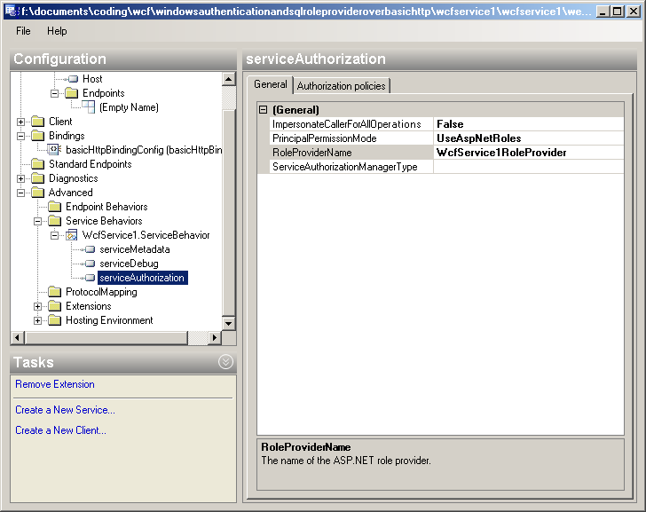WCF Using Windows Authentication and SqlRoleProvider over