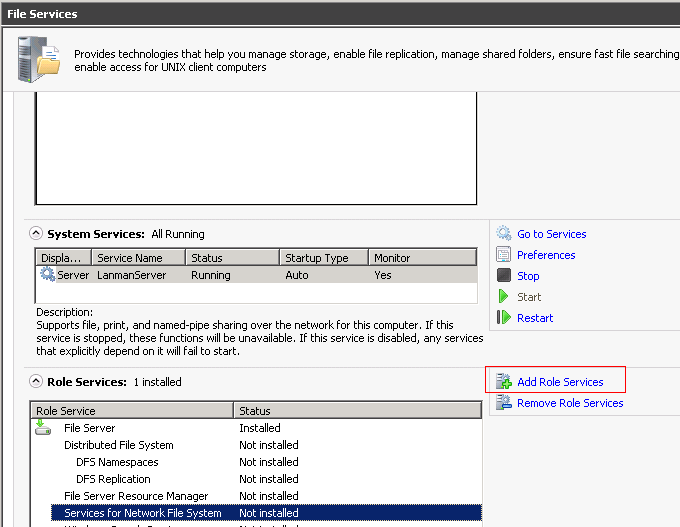 NFS: How to connect to NFS using Windows Server 2008 R2