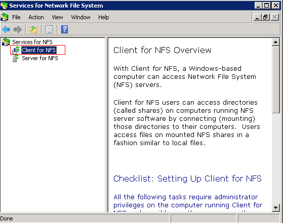 NFS: How to connect to NFS using Windows Server 2008 R2 without